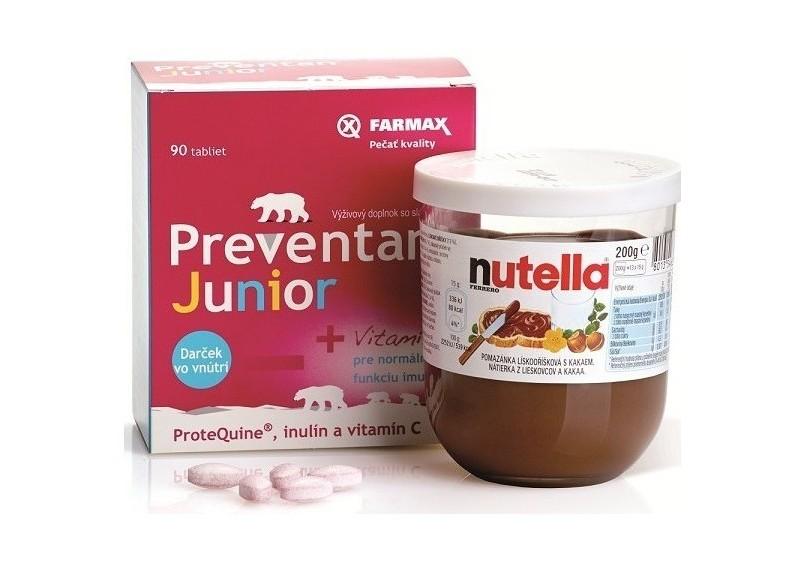 Preventan® Junior 90-tabletové balenie + darček: 200-gramové balenie deťmi tak obľúbenej Nutelly